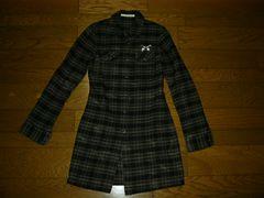ロアーroarロングチェックネルシャツ0黒灰2丁拳銃特殊加工品