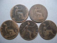 ◆イギリス 英国 ペニー銅貨 ビクトリア女王 1900 年-5枚 ◆24