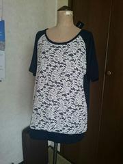 レース使いの半袖Tシャツ3L新品ネイビー