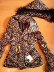 d.i.aラクーンファーヒョウ柄絞り仕掛けポケットダウンフェザージャケットコート