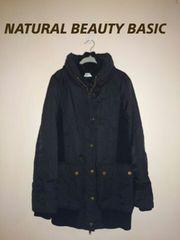 《NATURAL BEAUTY BASIC》黒/大人気♪デカ襟JK/異素材組合せ ☆