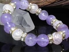 薔薇彫りローズクォーツ§アメジスト10ミリ数珠