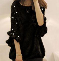 新品【6497】XXXL(大きいサイズ)パール付き黒ゆったりセーター