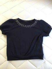 美品★イングINGNI★パフ袖の半袖カットソー★ネイビー★Mサイズ