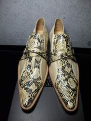 トルネードマート〓新品パイソン&ハラコシューズ靴〓ベージュ/S