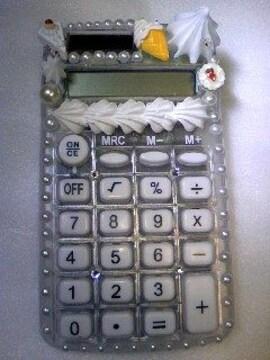 モバオク:電卓 スケルトンホワイトデコ電卓