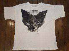 難アリ!〈黒夢/KUROYUME〉猫BIG Tシャツ CAT 白M Moonage清春SADS