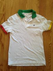 ユニクロUNIQLOキッズ半袖紺白ホワイトポロシャツTシャツ子供トップス
