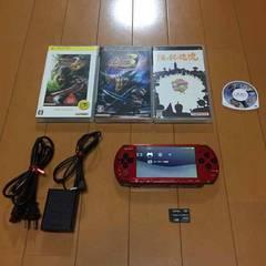 【送込/限定】PSP 本体 3000 赤黒 ソフト4本、メモステ付き