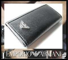 EMPORIO ARMANI YEMG68 6連キーケース ブラックXシルバー 34560円 新品