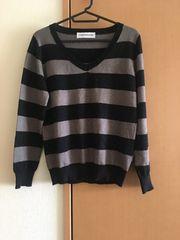 イーハイフン★黒×グレー★ニット★セーター