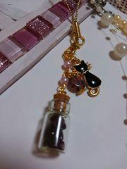 小さな小さなコルク瓶☆黒猫★ガーネット☆とんぼ玉★チャーム