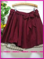 冬新作◆大きいサイズ3Lワインレッド◆裾レース◆キュロットスカート