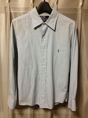 ポロラルフローレン 無地長袖シャツ XS-Sサイズ16 細身タイト 青水色 古着レトロ ロック