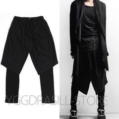YGG★新品 巻きスカートパンツ 黒 L レイヤード ユニセックス