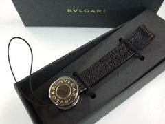 超美ブルガリブルガリ レザー 携帯ストラップ  黒