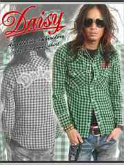 Daisy(デイジー)刺繍チェックネルシャツ/グリーンMアメカジ系