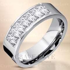 新品8ストーン プリンセスカット ステンレスリング☆12号指輪幅広 可愛い綺麗