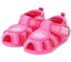 新品BABYDOLL☆メッシュ サンダル 15cm ピンク 王冠 靴 ベビードール