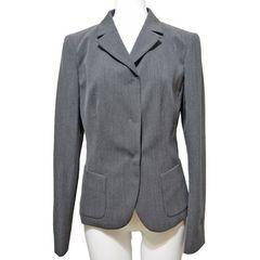 新品プラダ シンプル ウール ジャケット グレー #40 PRADA
