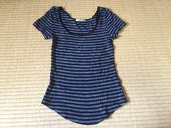 美品☆ローズバッド ボーダーカットソー Tシャツ☆黒×グレー☆F
