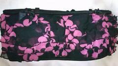 GJシースルーチュール5段フリルサテンリボンロゴドット柄パッド入りチューブブラトップ黒ピンク