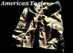 【American Eagle】Vintage Destroyed ベルト付カーゴショーツ 34/Khaki