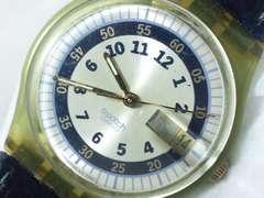 2386復活祭★swatchスウォッチ☆スケルトン仕様ブルーモデルメンズ腕時計格安