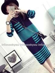 LL大きいサイズ/ボーダーラインニット+スカート上下2点セット/青緑x紺