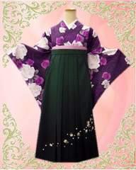 卒業式 袴&小振袖2点セット紫地胡蝶蘭大輪薔薇&緑刺繍ボカシ袴