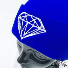 ダイヤモンド 刺繍 ニットキャップ ワッチキャップ 青 B系 380