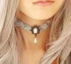 新品ゴスロリ姫系グレー薔薇パールチョーカーネックレス