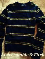 【Abercrombie&Fitch】Vintage 羊毛混 カジュアルウールニットセーター L/Navy