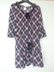 LD Prime 紫×黒×白 チェック チュニックワンピース 38 七分袖 N2m