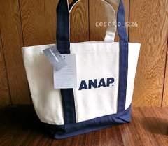 新品ANAP☆ロゴ トートバッグ ナチュラル×ネイビー アナップ