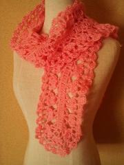 手編み太めモヘアで模様編みのマフラー