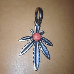 シルバー925ピンクサンゴコーラルマリファナ大麻ネックレス珊瑚