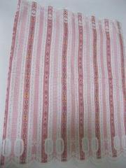 ピンク 花柄ストライプ カフェカーテン 70cm