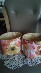 ハンドメイド新品小物入れ2個セットリアル花柄オレンジ