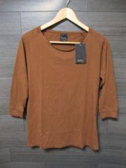 □ZARA/ザラ 切り放し加工 7分袖 Tシャツ/メンズ・S/ブラウン☆新品