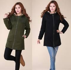 新品大きいサイズ5L19号厚地起毛フード付パーカーコート 黒