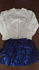 130cm 白レースブラウス&ドレス風スカート 2点セット