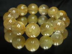 金針水晶タイチンルチル16mm数珠ブレスレット!!!極上の品質