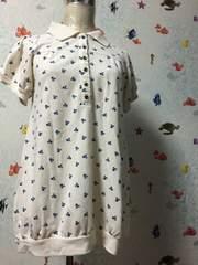 スカル柄 ホワイトポロシャツ