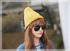 秋冬帽子★ラインスタッズ付きニット帽ニットキャップ♪からし色