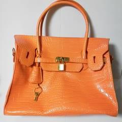 レアセレブ女優bag2wayクロコ型押し-オレンジageha-小悪魔