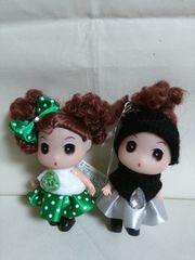 可愛いお人形マスコット ミニ グリーンとブラックの二個セット