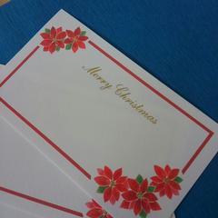 新品♪クリスマスカード♪ポインセチアX'masグリーティングカード♪6枚セット美品