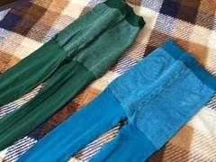 新品未使用カラータイツ2本セットグリーンブルー緑色青色