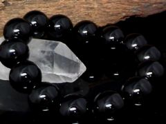 天然オニキス14ミリ黒瑪瑙数珠